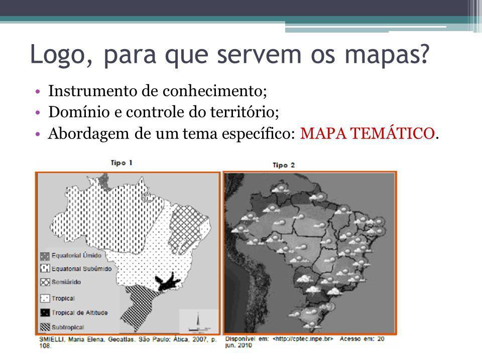 Logo, para que servem os mapas? Instrumento de conhecimento; Domínio e controle do território; Abordagem de um tema específico: MAPA TEMÁTICO.