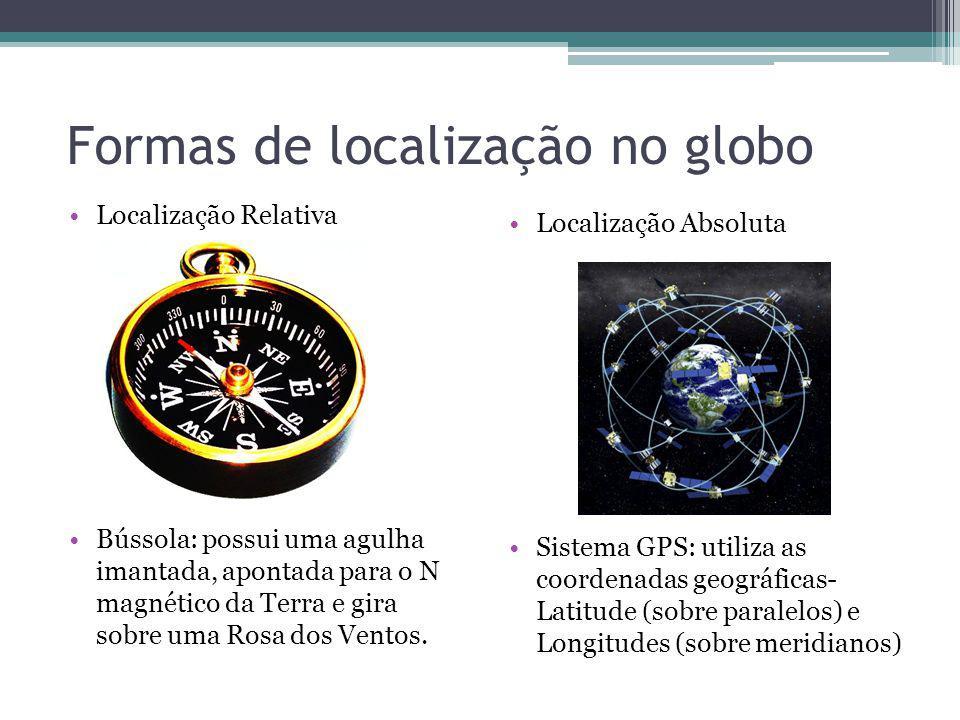 Formas de localização no globo Localização Relativa Bússola: possui uma agulha imantada, apontada para o N magnético da Terra e gira sobre uma Rosa do