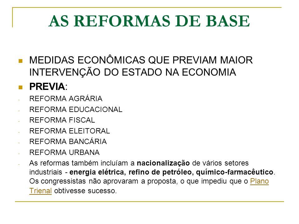 AS REFORMAS DE BASE MEDIDAS ECONÔMICAS QUE PREVIAM MAIOR INTERVENÇÃO DO ESTADO NA ECONOMIA PREVIA: - REFORMA AGRÁRIA - REFORMA EDUCACIONAL - REFORMA F