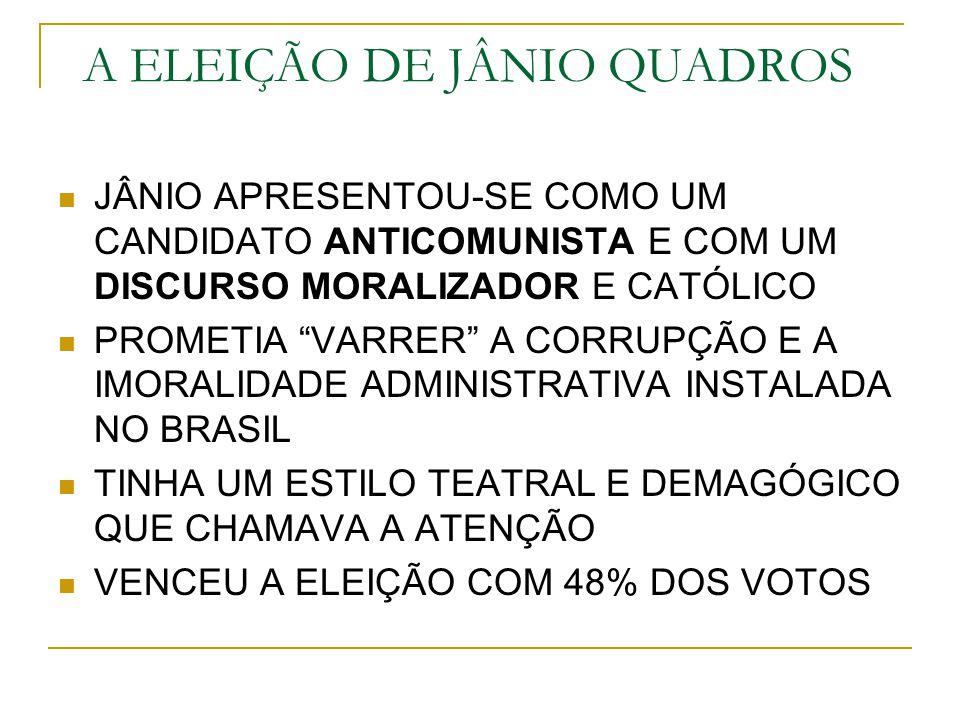 JÂNIO GESTOS TEATRAIS CARTAZ DA CAMPANHA: A VASSOURA REPRESENTAN- DO A FAXINA MORAL