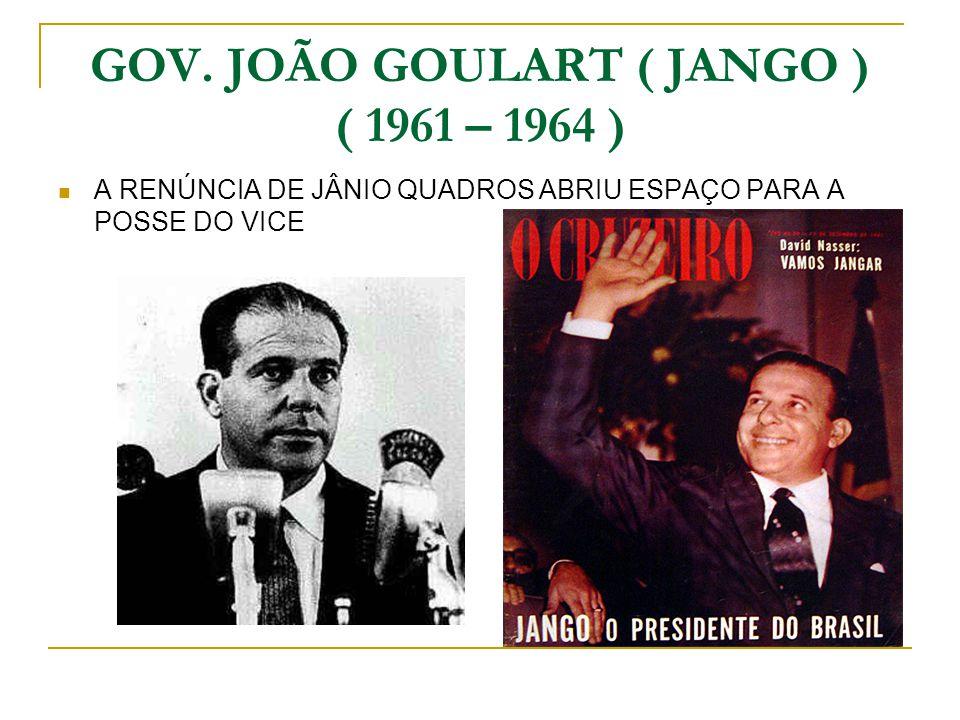 POSSE APÓS A CRISE POLÍTICA JOÃO GOULART ERA VISTO COM GRANDE DESCONFIANÇA POR INFLUENTES SEGMENTOS POLÍTICOS E SOCIAIS MILITARES NÃO ACEITAVAM A POSSE DE JANGO SURGE A LEGALIDADE = LEONEL BRIZOLA – PELA POSSE DE JANGO SOLUÇÃO = ADOÇÃO DO PARLAMENTARISMO – JANGO GOVERNA COM PODER ENFRAQUECIDO JOÃO GOULART TOMA POSSE EM 07.09.1961