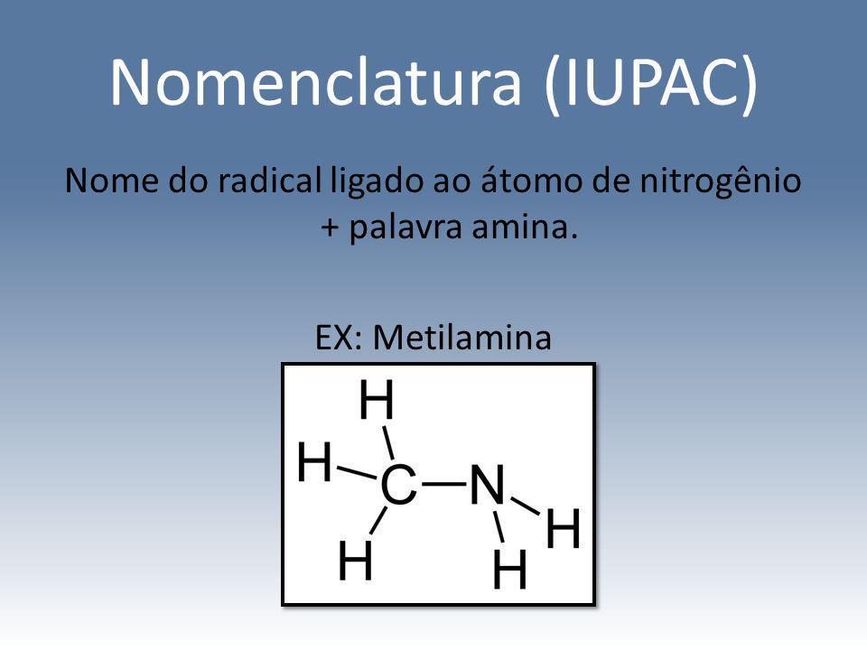 Nomenclatura (IUPAC) Nome do radical ligado ao átomo de nitrogênio + palavra amina. EX: Metilamina