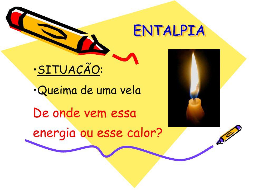 ENTALPIA (H) É uma grandeza que se refere à energia liberada ou absorvida pela reação em sistemas abertos.