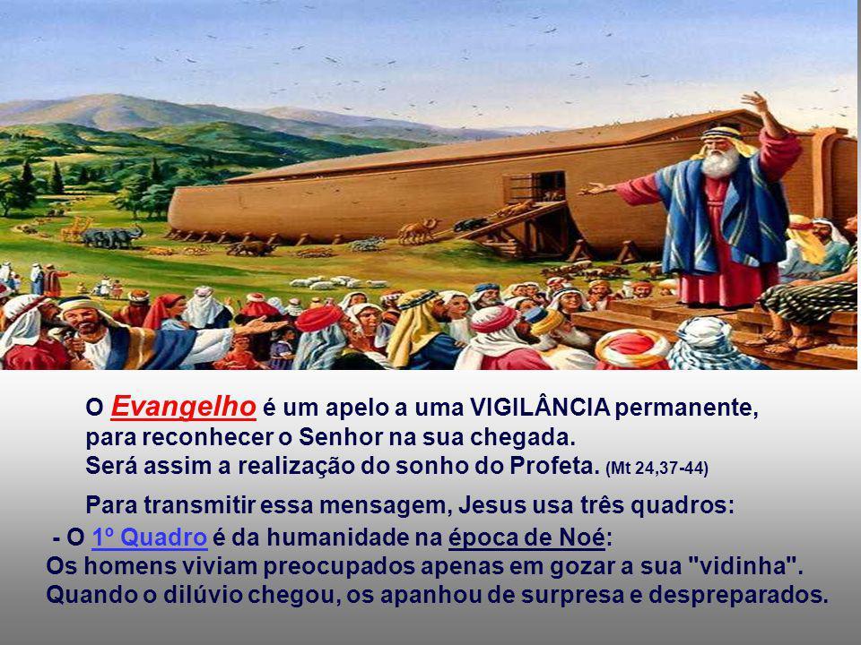 O Evangelho é um apelo a uma VIGILÂNCIA permanente, para reconhecer o Senhor na sua chegada.