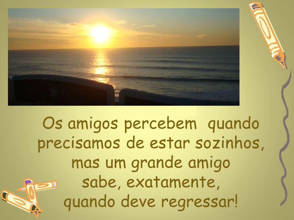 www.planetapowerpoint.com.br Os amigos percebem quando precisamos de estar sozinhos, mas um grande amigo sabe, exatamente, quando deve regressar!