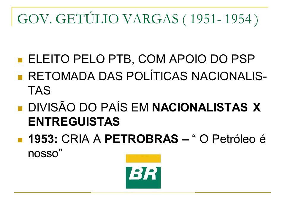 GOV. GETÚLIO VARGAS ( 1951- 1954 ) ELEITO PELO PTB, COM APOIO DO PSP RETOMADA DAS POLÍTICAS NACIONALIS- TAS DIVISÃO DO PAÍS EM NACIONALISTAS X ENTREGU