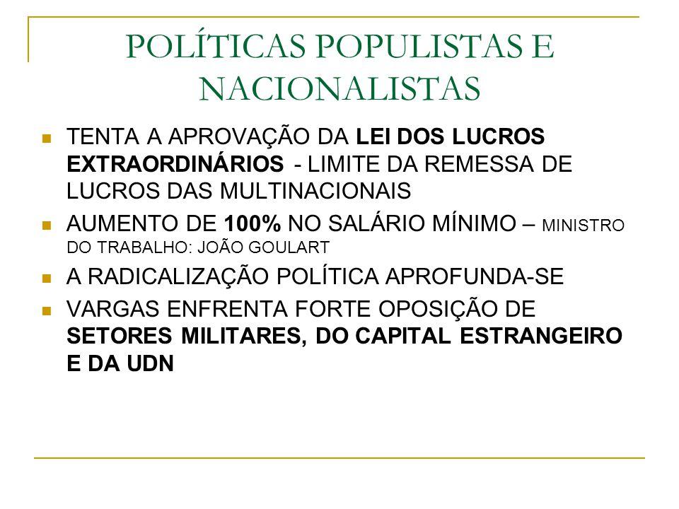 POLÍTICAS POPULISTAS E NACIONALISTAS TENTA A APROVAÇÃO DA LEI DOS LUCROS EXTRAORDINÁRIOS - LIMITE DA REMESSA DE LUCROS DAS MULTINACIONAIS AUMENTO DE 1