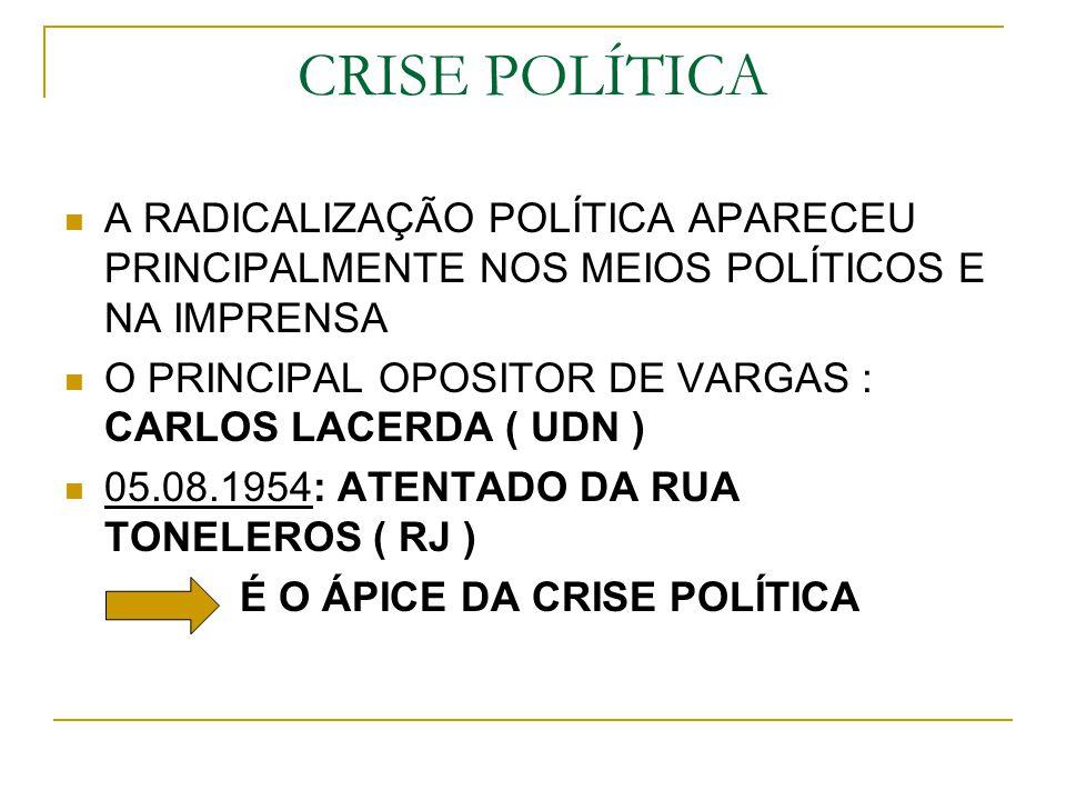 CRISE POLÍTICA A RADICALIZAÇÃO POLÍTICA APARECEU PRINCIPALMENTE NOS MEIOS POLÍTICOS E NA IMPRENSA O PRINCIPAL OPOSITOR DE VARGAS : CARLOS LACERDA ( UD