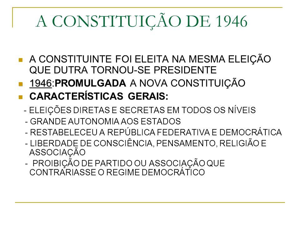 A CONSTITUIÇÃO DE 1946 A CONSTITUINTE FOI ELEITA NA MESMA ELEIÇÃO QUE DUTRA TORNOU-SE PRESIDENTE 1946 1946:PROMULGADA A NOVA CONSTITUIÇÃO CARACTERÍSTI