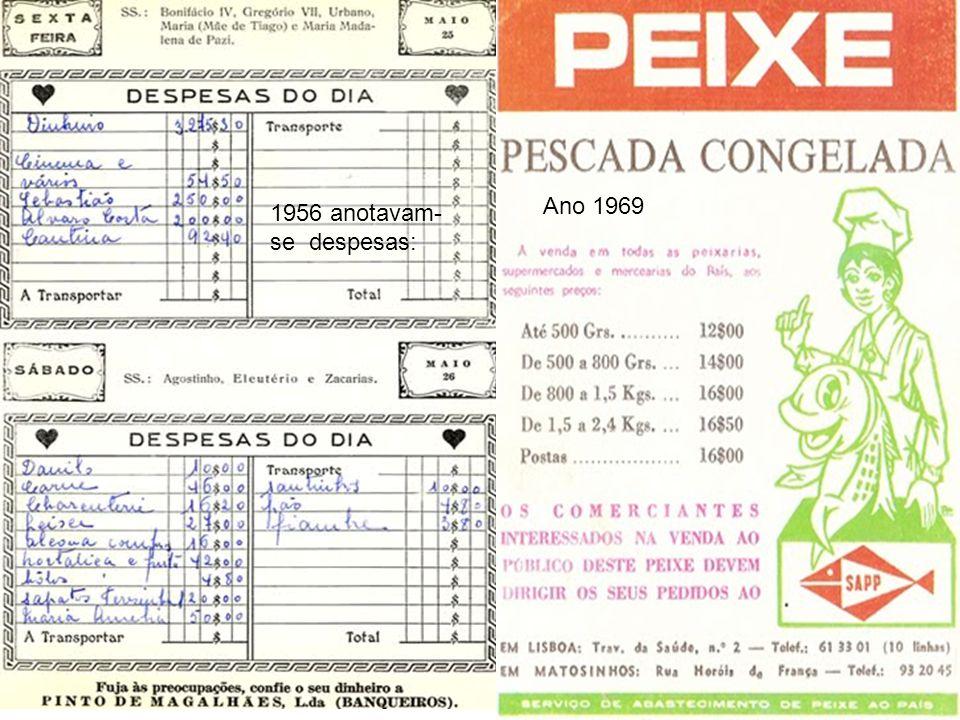 1956 anotavam- se despesas: Ano 1969