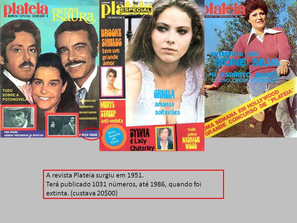 A revista Plateia surgiu em 1951.Terá publicado 1031 números, até 1986, quando foi extinta.