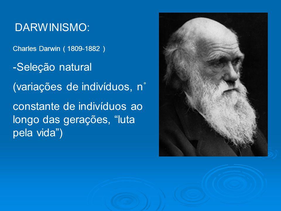 DARWINISMO: Charles Darwin ( 1809-1882 ) -Seleção natural (variações de indivíduos, n˚ constante de indivíduos ao longo das gerações, luta pela vida)