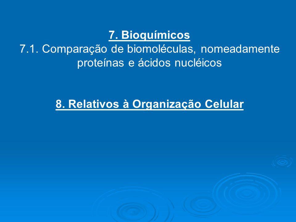 7. Bioquímicos 7.1. Comparação de biomoléculas, nomeadamente proteínas e ácidos nucléicos 8. Relativos à Organização Celular