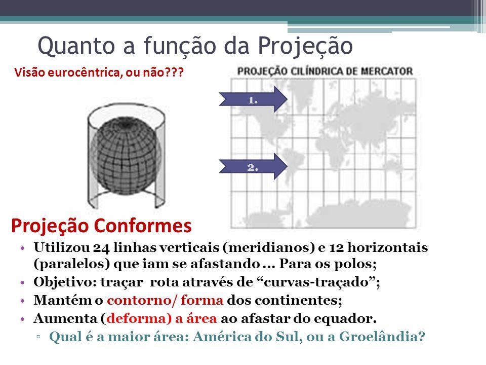 Quanto a função da Projeção Utilizou 24 linhas verticais (meridianos) e 12 horizontais (paralelos) que iam se afastando... Para os polos; Objetivo: tr