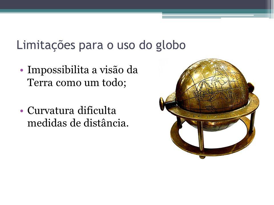 Limitações para o uso do globo Impossibilita a visão da Terra como um todo; Curvatura dificulta medidas de distância.