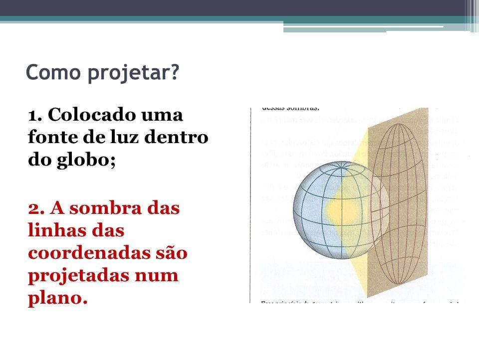 Como projetar? 1. Colocado uma fonte de luz dentro do globo; 2. A sombra das linhas das coordenadas são projetadas num plano.