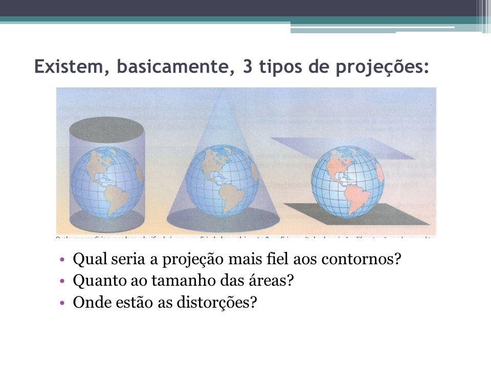 Existem, basicamente, 3 tipos de projeções: Qual seria a projeção mais fiel aos contornos? Quanto ao tamanho das áreas? Onde estão as distorções?