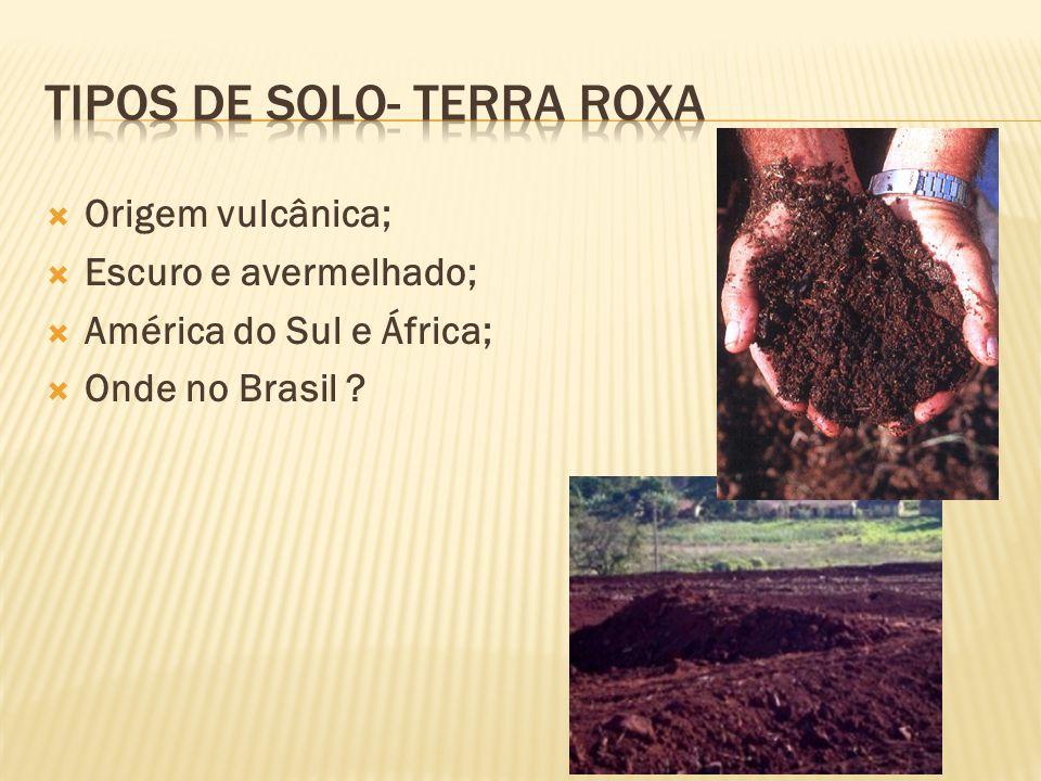 Origem vulcânica; Escuro e avermelhado; América do Sul e África; Onde no Brasil ?