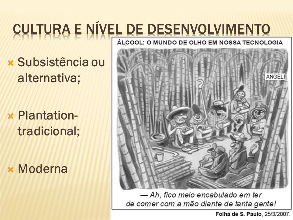 Subsistência ou alternativa; Plantation- tradicional; Moderna