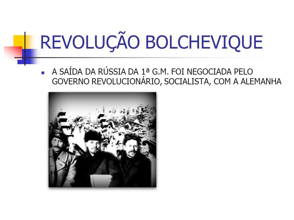REVOLUÇÃO BOLCHEVIQUE A SAÍDA DA RÚSSIA DA 1ª G.M. FOI NEGOCIADA PELO GOVERNO REVOLUCIONÁRIO, SOCIALISTA, COM A ALEMANHA