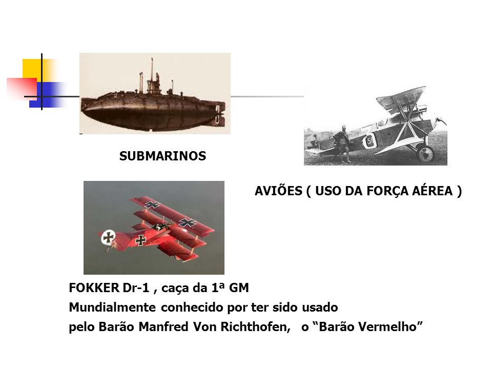 SUBMARINOS AVIÕES ( USO DA FORÇA AÉREA ) FOKKER Dr-1, caça da 1ª GM Mundialmente conhecido por ter sido usado pelo Barão Manfred Von Richthofen,o Barã