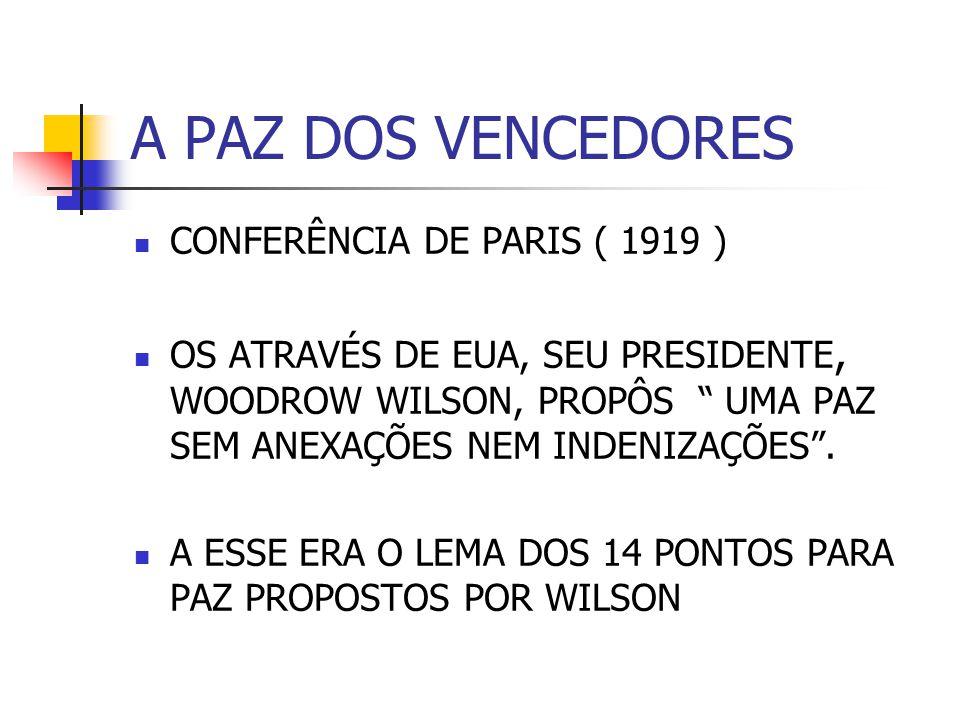 A PAZ DOS VENCEDORES CONFERÊNCIA DE PARIS ( 1919 ) OS ATRAVÉS DE EUA, SEU PRESIDENTE, WOODROW WILSON, PROPÔS UMA PAZ SEM ANEXAÇÕES NEM INDENIZAÇÕES. A