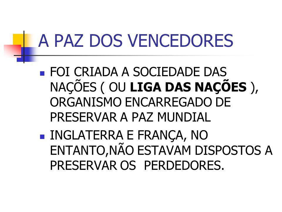 A PAZ DOS VENCEDORES FOI CRIADA A SOCIEDADE DAS NAÇÕES ( OU LIGA DAS NAÇÕES ), ORGANISMO ENCARREGADO DE PRESERVAR A PAZ MUNDIAL INGLATERRA E FRANÇA, NO ENTANTO,NÃO ESTAVAM DISPOSTOS A PRESERVAR OS PERDEDORES.