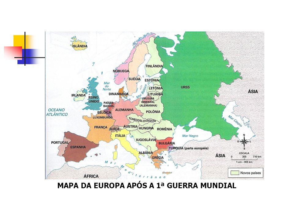 MAPA DA EUROPA APÓS A 1ª GUERRA MUNDIAL