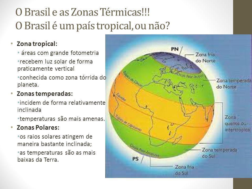 O Brasil e as Zonas Térmicas!!.O Brasil é um país tropical, ou não.