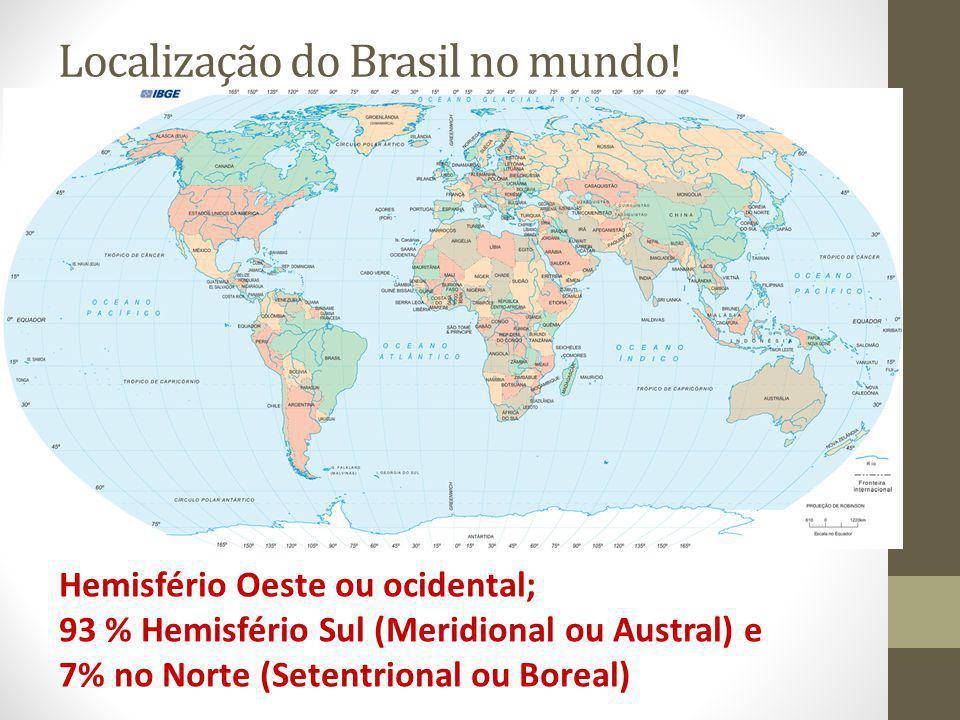 Localização do Brasil no mundo.