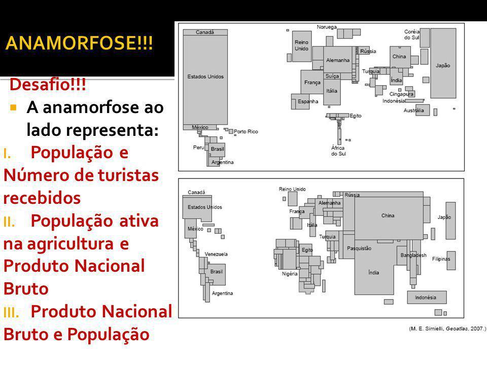 Desafio!!! A anamorfose ao lado representa: I. População e Número de turistas recebidos II. População ativa na agricultura e Produto Nacional Bruto II