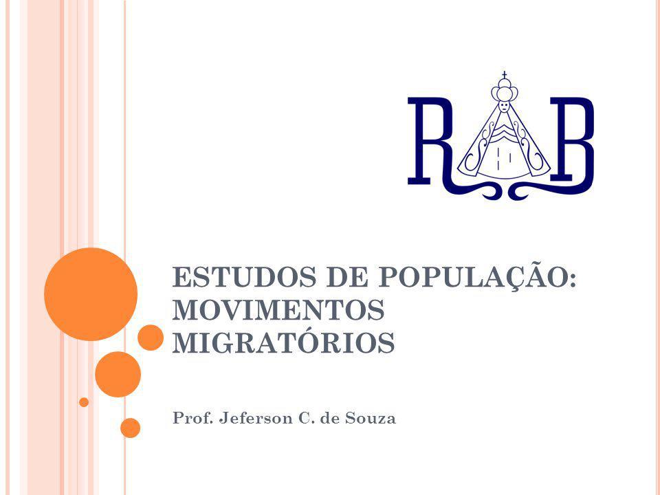 ESTUDOS DE POPULAÇÃO: MOVIMENTOS MIGRATÓRIOS Prof. Jeferson C. de Souza