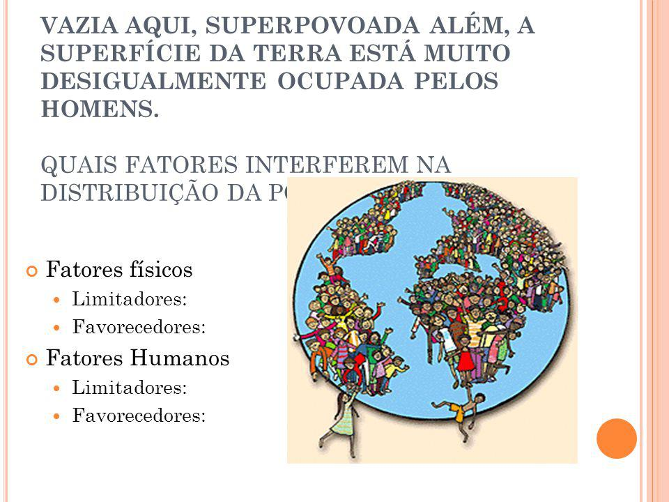VAZIA AQUI, SUPERPOVOADA ALÉM, A SUPERFÍCIE DA TERRA ESTÁ MUITO DESIGUALMENTE OCUPADA PELOS HOMENS. QUAIS FATORES INTERFEREM NA DISTRIBUIÇÃO DA POPULA