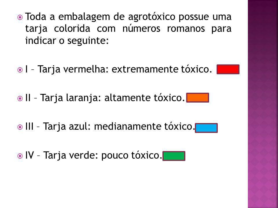 Toda a embalagem de agrotóxico possue uma tarja colorida com números romanos para indicar o seguinte: I – Tarja vermelha: extremamente tóxico.