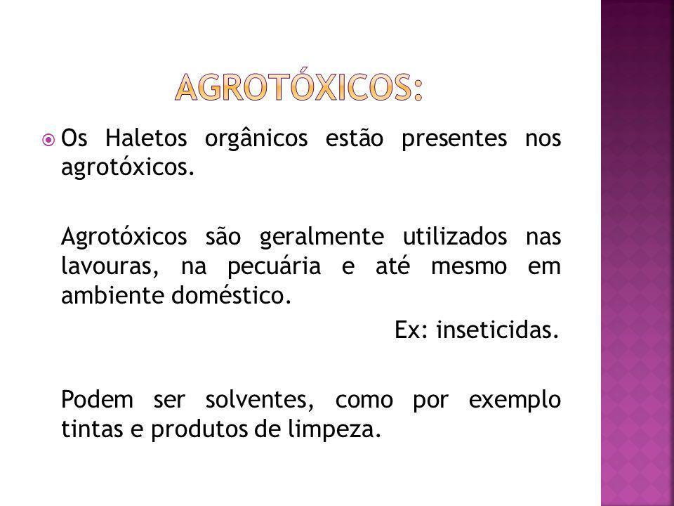 Os Haletos orgânicos estão presentes nos agrotóxicos.