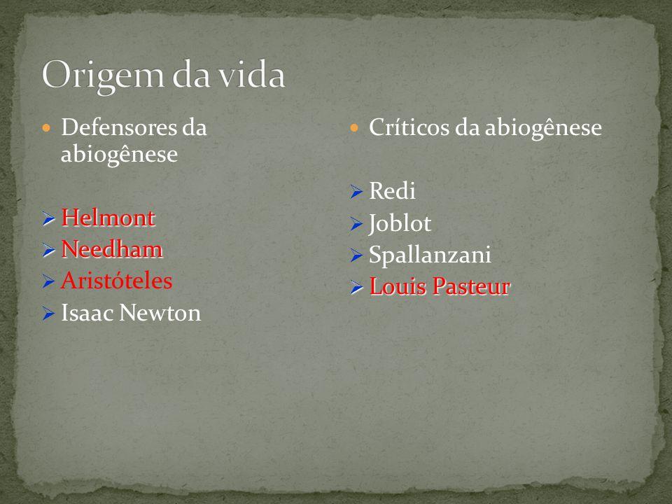 Defensores da abiogênese Helmont Helmont Needham Needham Aristóteles Isaac Newton Críticos da abiogênese Redi Joblot Spallanzani Louis Pasteur Louis P