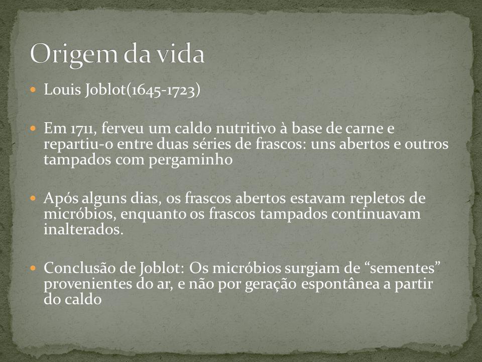 Louis Joblot(1645-1723) Em 1711, ferveu um caldo nutritivo à base de carne e repartiu-o entre duas séries de frascos: uns abertos e outros tampados co
