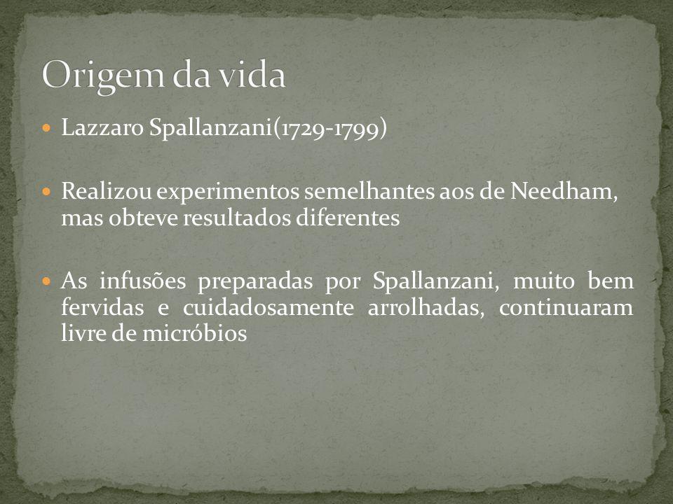 Lazzaro Spallanzani(1729-1799) Realizou experimentos semelhantes aos de Needham, mas obteve resultados diferentes As infusões preparadas por Spallanza