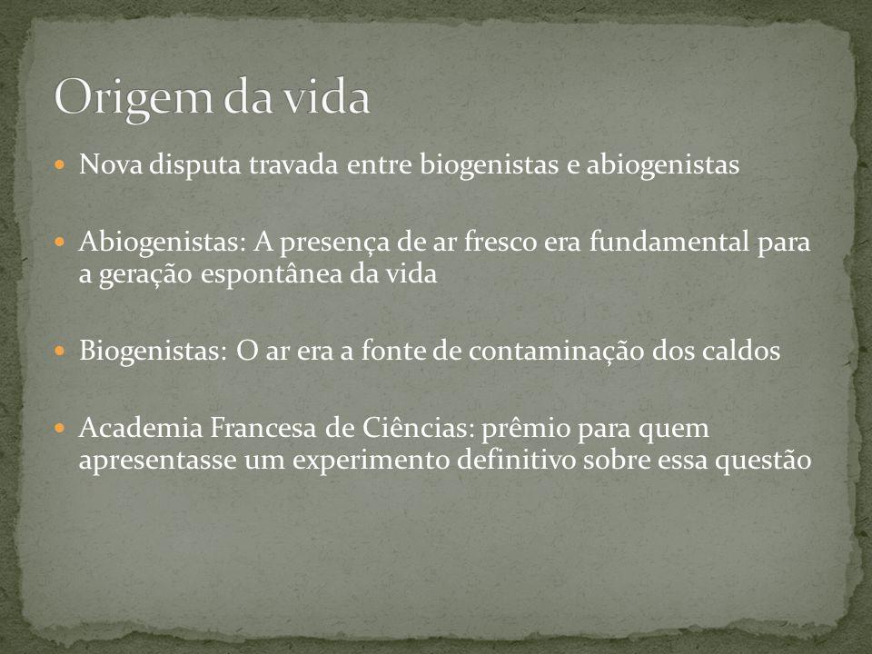 Nova disputa travada entre biogenistas e abiogenistas Abiogenistas: A presença de ar fresco era fundamental para a geração espontânea da vida Biogenis