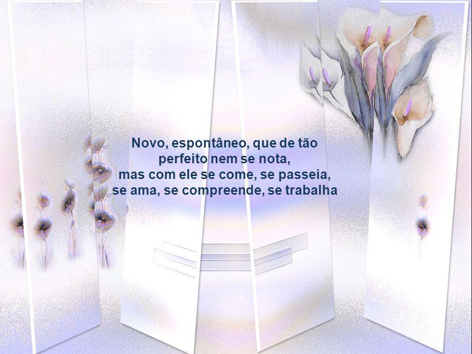Novo, espontâneo, que de tão perfeito nem se nota, mas com ele se come, se passeia, se ama, se compreende, se trabalha