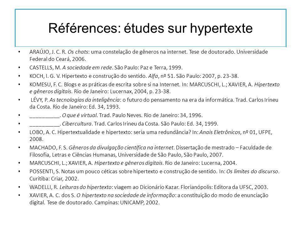 Références: études sur hypertexte ARAÚJO, J. C. R.