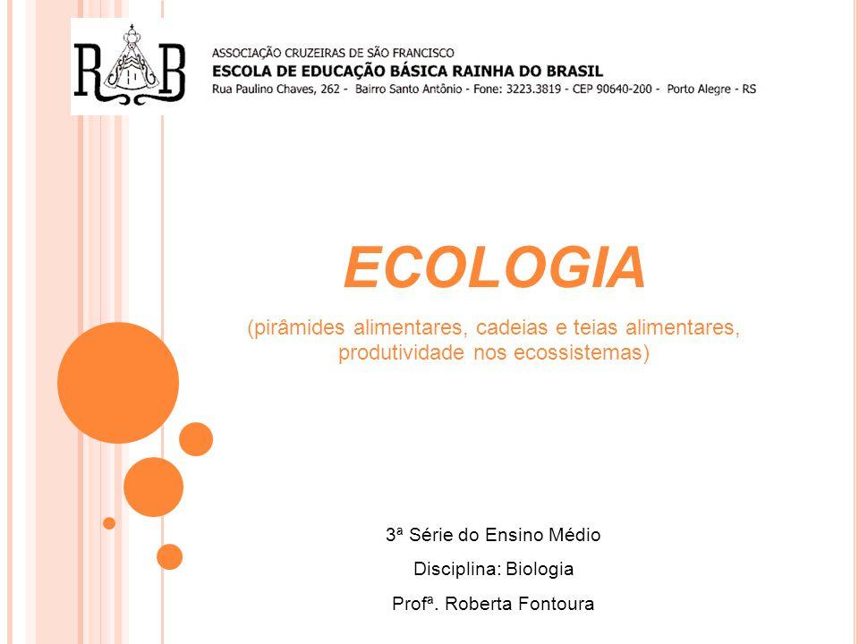 ECOLOGIA (pirâmides alimentares, cadeias e teias alimentares, produtividade nos ecossistemas) 3ª Série do Ensino Médio Disciplina: Biologia Profª.