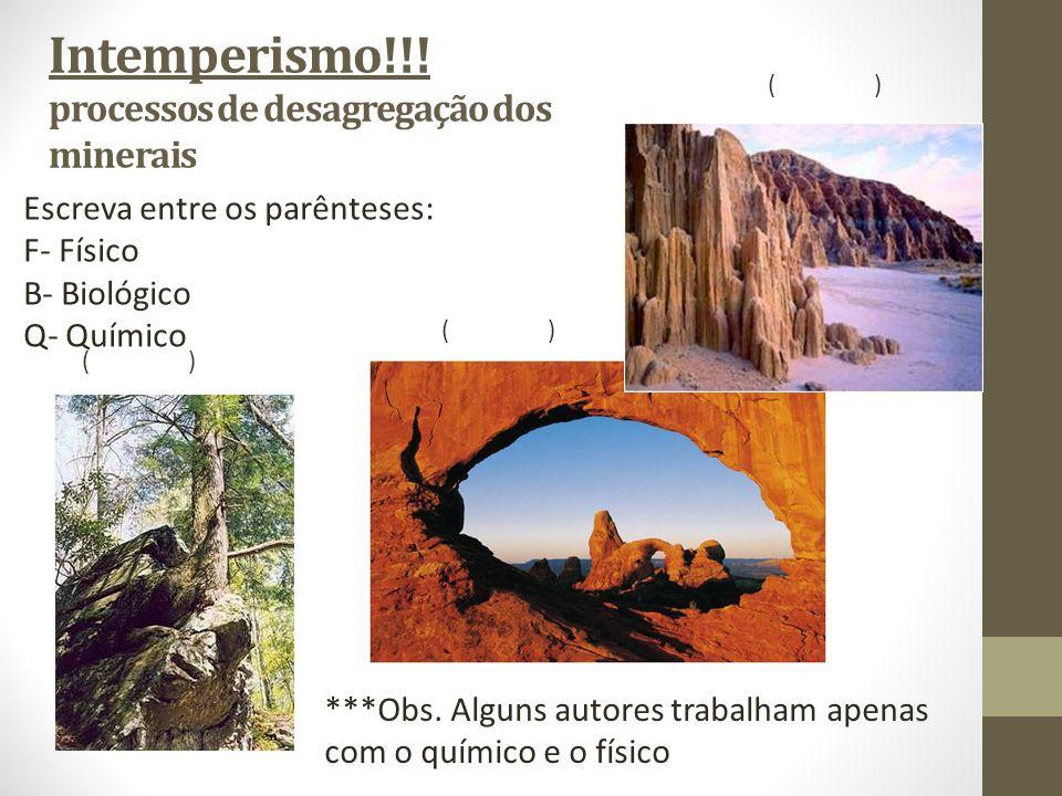 Intemperismo!!! processos de desagregação dos minerais Escreva entre os parênteses: F- Físico B- Biológico Q- Químico ()() ()() ()() ***Obs. Alguns au