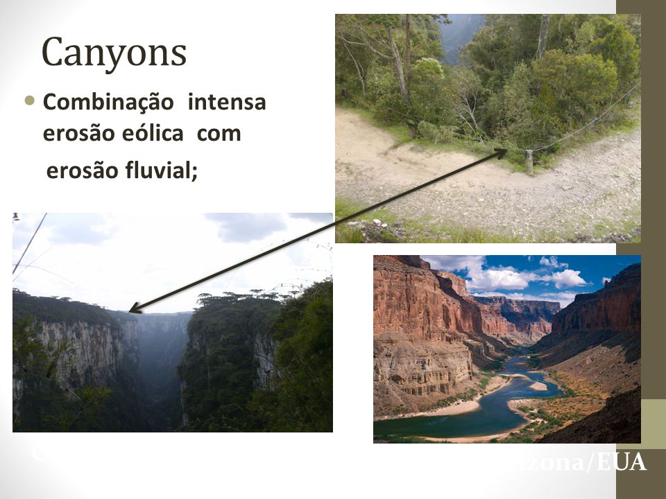 Combinação intensa erosão eólica com erosão fluvial; Canyons Cambará- RS Colorado- Arizona/EUA