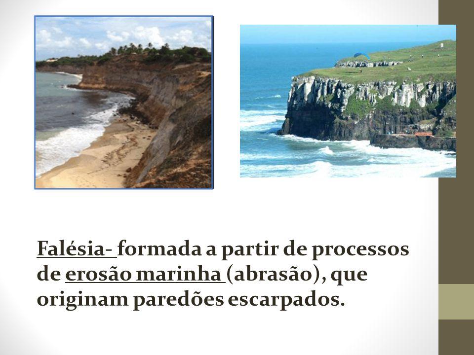 Falésia- formada a partir de processos de erosão marinha (abrasão), que originam paredões escarpados. Rocha Sedimentar Rocha Vulcânica