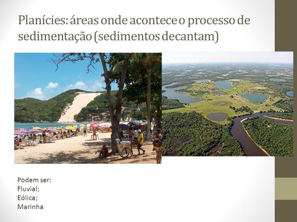 Planícies: áreas onde acontece o processo de sedimentação (sedimentos decantam) Podem ser: Fluvial; Eólica; Marinha