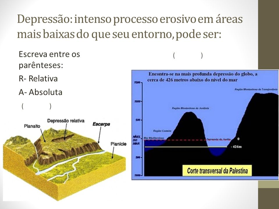 Depressão: intenso processo erosivo em áreas mais baixas do que seu entorno, pode ser: Escreva entre os parênteses: R- Relativa A- Absoluta ()() ()()