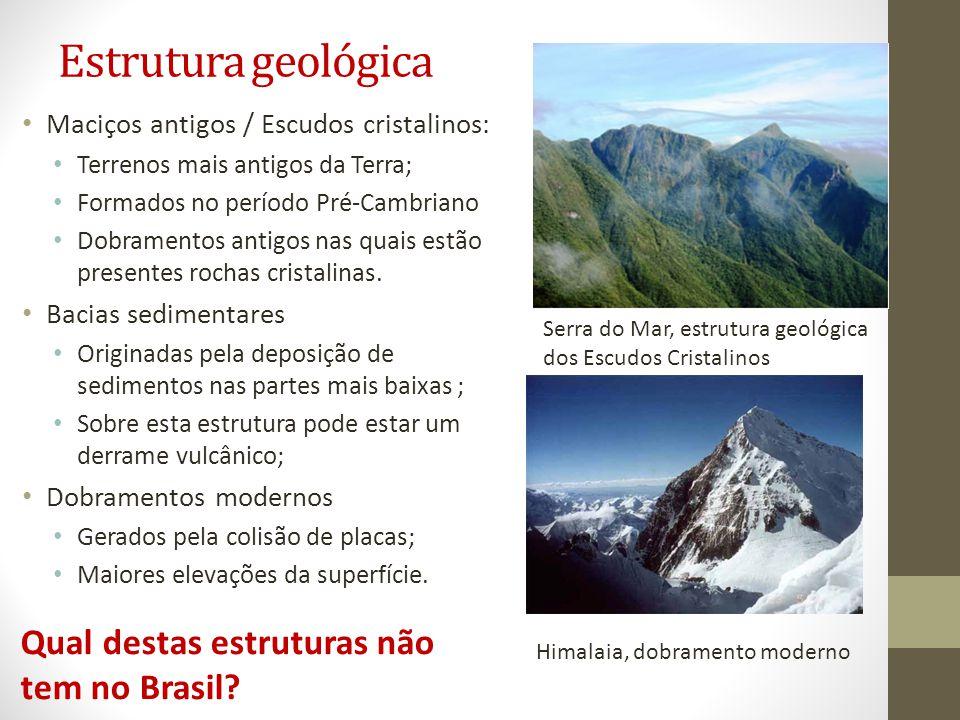 Estrutura geológica Maciços antigos / Escudos cristalinos: Terrenos mais antigos da Terra; Formados no período Pré-Cambriano Dobramentos antigos nas quais estão presentes rochas cristalinas.
