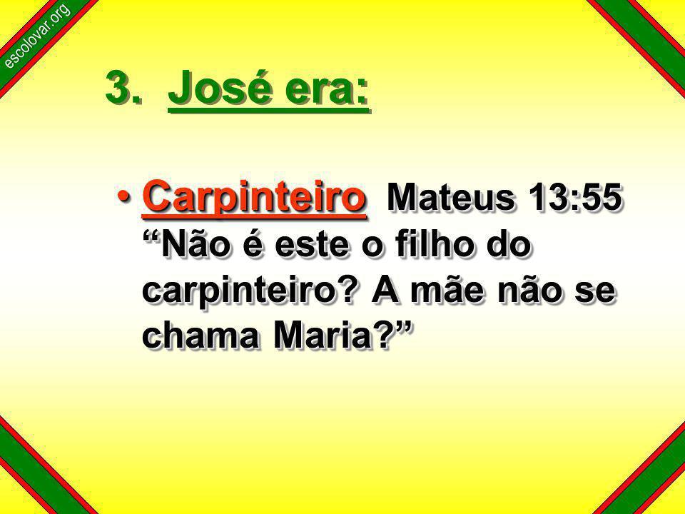 escolovar.org 3. José era: Carpinteiro Mateus 13:55 Não é este o filho do carpinteiro.