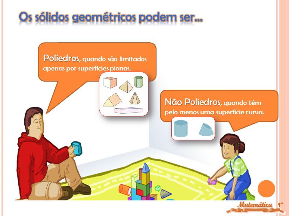 5º pirâmides As pirâmides são poliedros com uma base (formada por um polígono) e as suas faces laterais são triângulos.